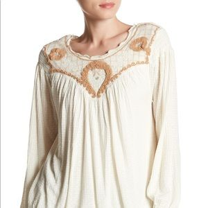 Free People Bregonia Embroidered Top